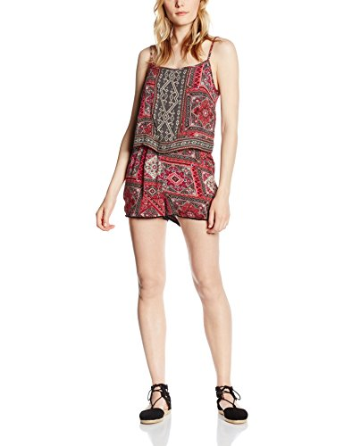 ONLY onlLILITH STRAP PLAYSUIT - Tuta Jumpsuit Corta Donna, Multicolore (Whisper White AOP:MARRAKESH SQUARES RED), W42