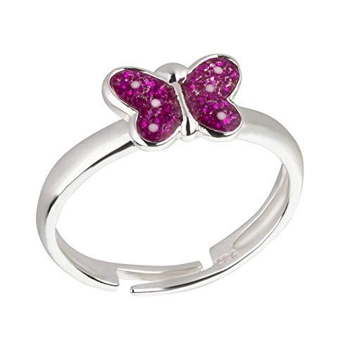 FIVE-D Kinder Ring Schmetterling Glitzerfarbe Grösse einstellbar aus 925 Sterling Silber im Schmucketui (Fuchsia-Punkte)
