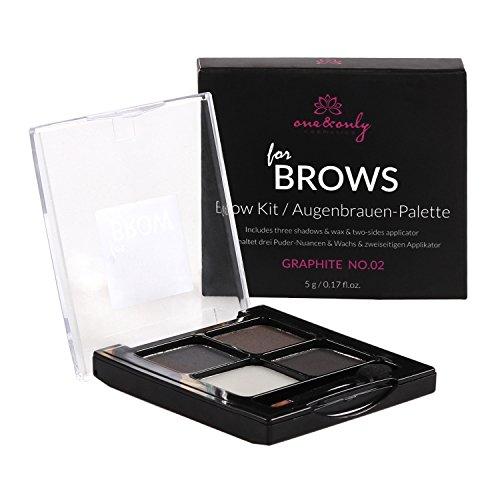 One&Only for BROWS Kit no.02 Graphite 5 g, Eyebrow Kit, Set zum Augenbrauenstyling, Make-up für die Augenbrauen, natürlicher Effekt, perfekt betonte und gestylte Brauen - Brow Grooming Set
