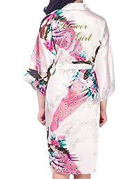 Kunfang Kids Robe Satin Kimono Batas de Baño Vestido de Niña de Flores Albornoz de Seda