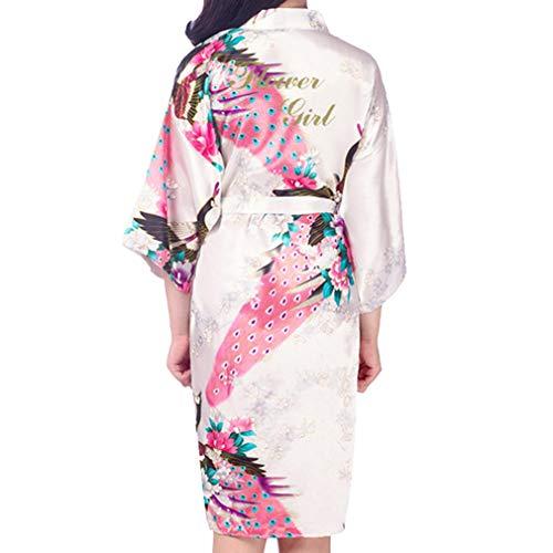 Kunfang Kids Robe Satin Kimono Batas de Baño Vestido de Niña de Flores Albornoz de Seda para Niños Camisón Peacock Robe
