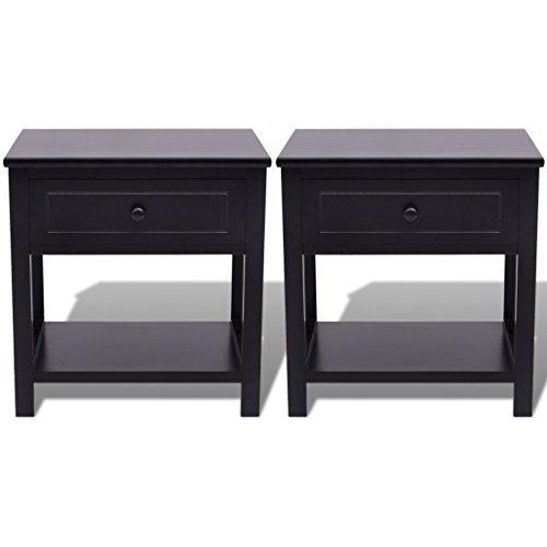 Festnight 2er-Set Holz Nachttisch Telefontischchen Beistelltisch Schränkchen mit 1 Schublade Holztisch Schlafzimmertisch Schwarz