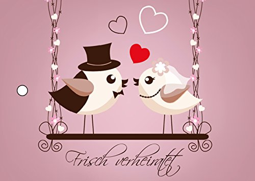 55 Ballonkarten FRISCH VERHEIRATET mit süssen Vögeln auf einer Schaukel - Ballonflugkarten für die Hochzeit, extra leicht, wetterfest, bereits vorgelocht von Edition Colibri (Set 17) (Karte Vogel)