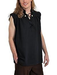 Chemise col droit médiéval sans manches coton noir