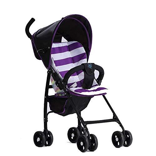 HZC Leichter Kinderwagen, Kinderwagen Tragbarer Kinderwagen Faltbarer Babyreiseträger Säuglingskinderwagen for Neugeborene und Kleinkinder (Farbe : Lila)