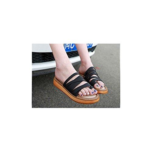 2 Flach Schwarz Damen Plattformhohe Pantoletten 8cm Absatzhohe 1 Ochenta 5cm Durchzugsriemen Zehentrenner OtwxO8