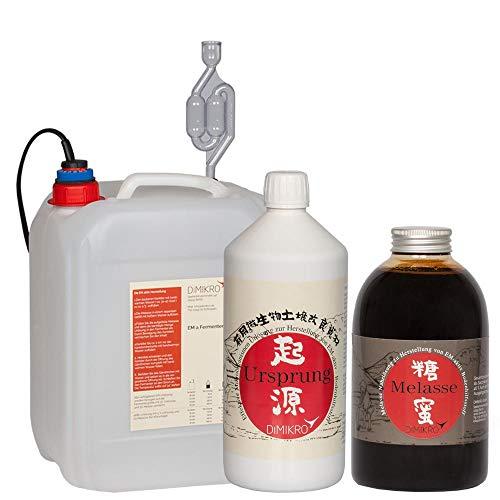 DIMIKRO Fermenter Einsteigerset - zur Herstellung von Effektiven Mikroorganismen aktiv (EMa) - Komplett-Set mit Fermenter, Urlösung, Melasse, pH-Streifen und Anleitung (5 Liter) - Em-set
