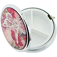 The Olivia Collection Silver plated blush floreale farfalla Travel Pill box SC1485