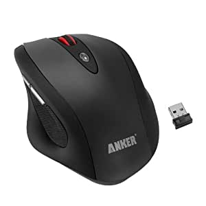 Anker® C200 Full-Size Ergonomic Wireless Mouse with 6 Buttons, 3 DPI Adjustment Levels and 2000 DPI (Black)