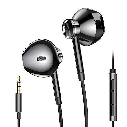 PRO-ELEC Kopfhörer mit Kabel, Ear Kopfhörer mit Mikrofon und Lautstärkeregler Ohrhörer Stereo mit 3,5mm Klinkenstecker Kopfhörer für iPhone Samsung Huawei Sony Xiaomi-Schwarz