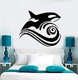 Dalxsh Vinyl Wandtattoo Wal Welle Meer Ozean Stil Wandaufkleber Removable Home Decor Meer Tier Design Kunstwanddekor 57X49 Cm