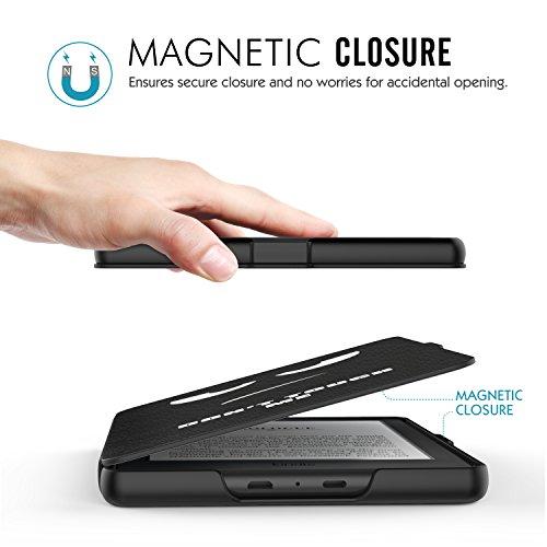 MoKo Étui de protection pour Kindle (8ème génération - modèle 2016) - étui Flip en cuir super fin et léger avec Auto Réveil / Veille pour Amazon Toute nouvelle Liseuse Kindle, Noir Z-Don't Touch