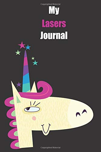 My Lasers Journal: With A Cute Unicorn, Blank Lined Notebook Journal Gift Idea With Black Background Cover Black Zebra Laser