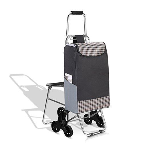 Einkaufstrolleys Leichter Treppensteigen Faltbarer Einkaufswagen | Warenkorb | Reisewagen-Lebensmittelgeschäft-Laufkatze 6 PU-Rad-zusammenklappbare Stoß-, Zug-Karren mit Sitz-Quadrat-Gitter Oxford Tuc