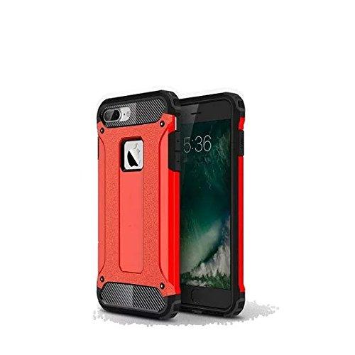 iPhone 7 Plus Coque,Lantier Hybrid PC double couche+TPU Anti-Drop antichoc Cool design Etui rigide robuste robuste Lumière mince Armure pour Apple iPhone 7 Plus (5,5 pouces) Rose d'or Red