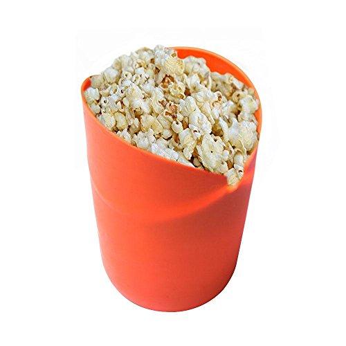 Microondas palomitas de maíz eléctrica, AOLVO silicona palomitas de maiz poppers no aceite plegable palomitas cuenco 100% de calidad alimentaria sin BPA, Naranja, talla única