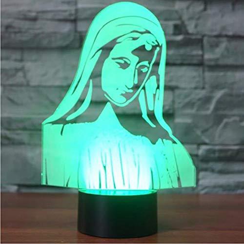 Nouveauté LED Night Light 7 Changement de Couleur Virgin Mary 3D Lampe de Table Pour Enfants Cadeaux Chambre À Coucher Sommeil Luminaire Décoration