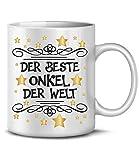 Golebros Der Beste Onkel der Welt 6279 Tasse Becher Kaffeetasse Kaffeebecher Geburt Geburtstagstasse Geschenk Geburtstag Schwangerschaft Weihnachten Weiss