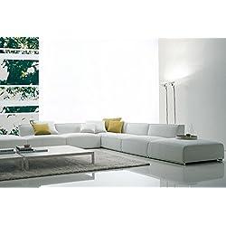 Sofá angular grande, piel, diseño de abstracto de lija