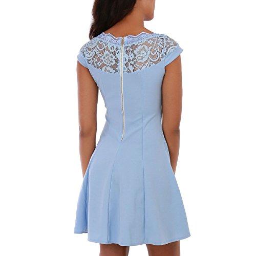 La Modeuse - Robe courte patineuse à manches courtes Bleu Clair