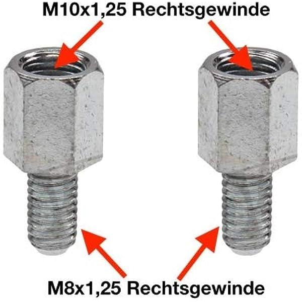 Spiegeladapter Rechtsgewinde M10 Auf M8 X 1 25 Für Roller Moped Motorrad Auto