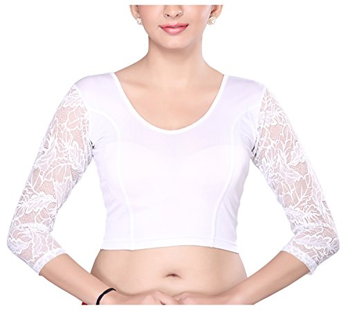 MSM Women\'s Synthetic Saree Blouse (White)