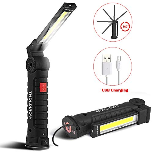 SunTop LED Arbeitsleuchte Taschenlampe Werkstattlampe Inspektionsleuchten Superhelle COB LED Camping Lantern Handlampe Campinglampe mit Magnet Clip USB-Ladekabel