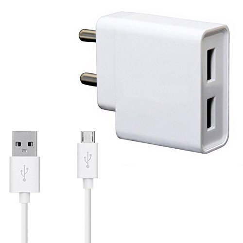 Jolla Jolla C Compatible Dual Port Charger Original Mobile Charger, Power Charger, Wall Charger, Fast Charger, Android Smartphone Charger, Battery Charger, Hi Speed Travel Charger With 1 Meter Micro USB Charging Data Cable ( 2 Ampere , White )