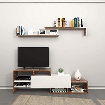 Homemania Meuble TV Fenice En Bois, Couleur Blanc Et Marron   Maison,  Mobilier,