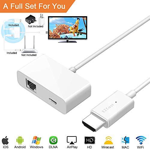 WiFi Display Dongle, [2019 Aufgerüstet] Wireless HDMI Anzeige Empfänger 1080P Full HD Unterstützt für iPhone, Android, iPad, PC, TV, Mac, Windowsr, Projektor (Plug and Play) -