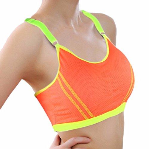 Tonsee Fitness Femme Yoga Sport Athlétique Solide Wrap pectorale Vest Tops Bra Orange
