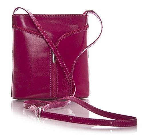 Big Handbag Shop Borsetta piccola a tracolla, vera pelle italiana Pink & Dark Tan