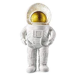 DONKEY Products Summerglobe The Giant Astronaut, Schneekugel, Glitzerkugel, Dekoration, Glas, Polyresin, Weiß, Golden, 30 cm, 330447