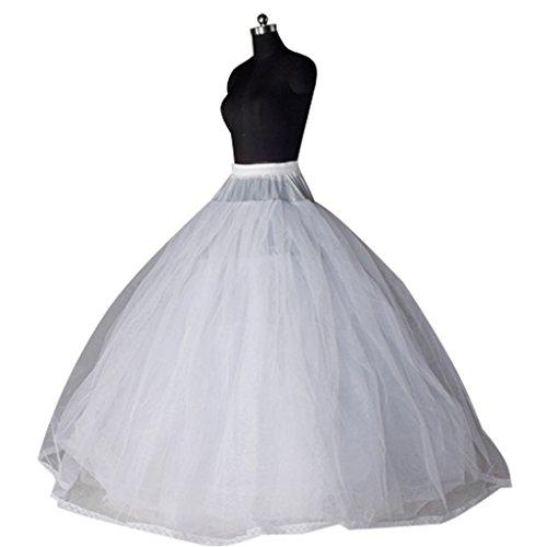 Edith qi Damen Reifrock, 2/3/4 Ringe Unterröcke für Hochzeit Brautkleid, Verstellbar Unterrock Crinoline Petticoat Slip, Eine Größe, für Gr. 34 bis Gr.50 Ohne Ringe-8 Schichten-No.(8808)