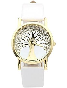 JSDDE Uhren,Damenmode Gold Baum des Lebens Muster Armbanduhr Damenuhr Faux Lederarmband Analog Quarzuhr,Weiss