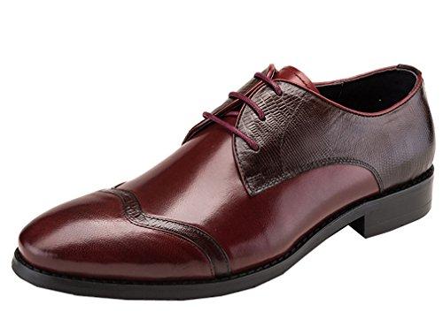 Leder-fahrer-schuhe (Dilize Herren Elegant Spitze bis Derby Schuhe Hochzeit Business Oxford, Braun - braun - Größe: 44 EU)