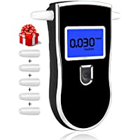 Kungfuren Alcohol Tester, Breath Alcohol Meter Portable Digital Alcohol Tester LED Display Promille Tester High Precision Results Fast Responding Speed with 5pcs Mouthpieces