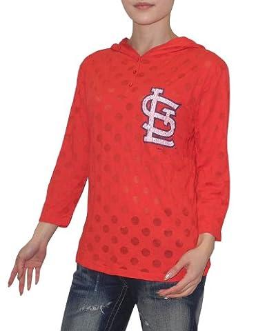 MLB St. Louis Cardinals Damen 3/4 Sleeve Kapuzen T-Shirt (Vintage-Look)