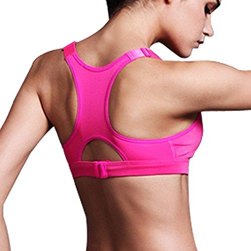 Sidiou Group Soutiens-gorge antichoc professionnel & réglable avec haute résistance ( sans Jantes), Sport Sous-vêtements /veste, yoga soutien-gorge du fitness & Jogging pour femme Rose