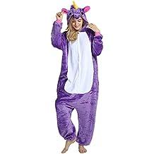 Missley Adulto Unisex Flanela Unicornio Cartoon Animal Novedad Halloween Pijama Cosplay (XL, Purple)