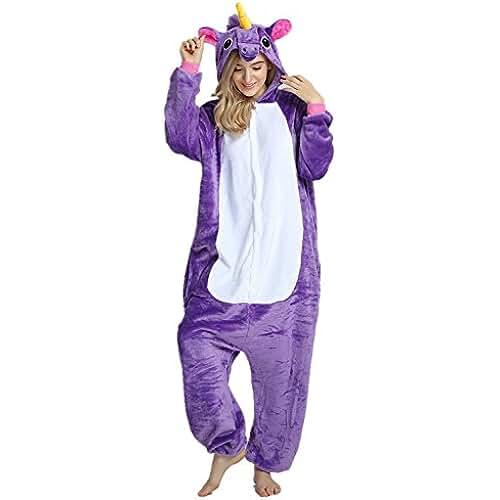 pijama de unicornio kawaii Missley Adulto Unisex Flanela Unicornio Cartoon Animal Novedad Halloween Pijama Cosplay (M, purple)
