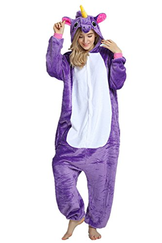 Missley Adulto Unisex Flanela Unicornio Cartoon Animal Novedad Halloween Pijama Cosplay (L, Purple)