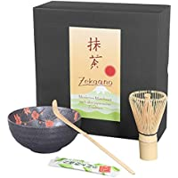 Té Matcha Juego de 3piezas, antracita rojo, compuesto de té Matcha–Bol, cuchara de té Matcha (y escoba de té Matcha (bambú) en caja de regalo. Original Aricola®
