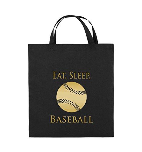 Comedy Bags - EAT. SLEEP. BASEBALL - BALL - Jutebeutel - kurze Henkel - 38x42cm - Farbe: Schwarz / Silber Schwarz / Gold
