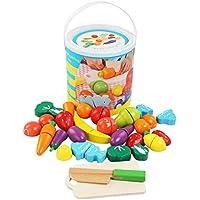 BelleStyle Juguetes Cortar Frutas Verduras de Madera, Gastronomia Saludable, Sin Toxico Juguetes Educativos para 3+ Nino (Magic Stickers)