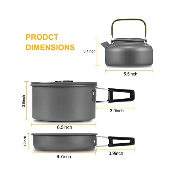 Buycitky Camping Cookware Kit,Camping Accessories Cooking,Lightweight & Nonstick Camping Kettle,Camping Pots,Camping Pans with Mesh Set Bag for Outdoor Activities,Picnic,Hiking,10-Piece Set 2