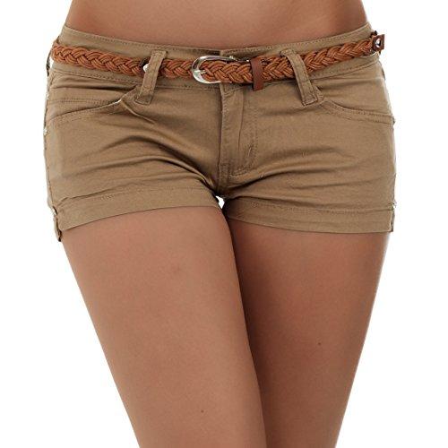 Malucas Damen Hotpants Shorts Bermuda Capri Hüfthose inkl. Gürtel 00188, Größe:38, Farbe:Beige