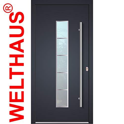 Haustür Welthaus WH75 Standard Aluminium mit Kunststoff LA250 FrankfurtTür 1000x2100mm DIN Rechts Farbe aussen anthrazit Innen weiß außengriff BGR1400 innendrucker M45 Zylinder 5 Schlüßel