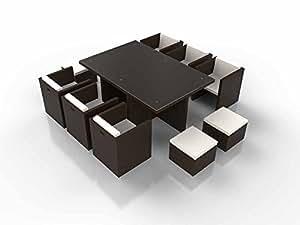 Ensemble table et chaises cubique résine tressée BOREAS chocolat
