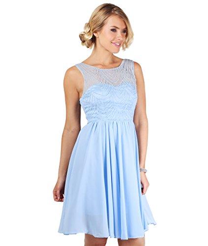 KRISP® Damen knielanges Ballkleid mit Perlenstickerei Hellblau / Blassblau (4600)